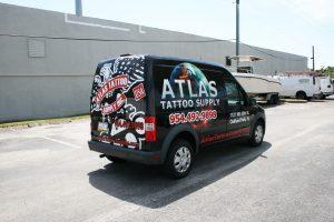 Atlas Tattoo Supply Ford Transit Connect van wrap