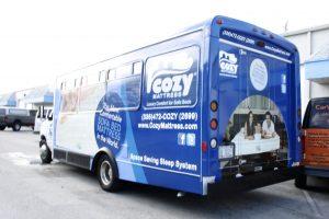 Cozy Mattress Bus Wrap Miami Florida