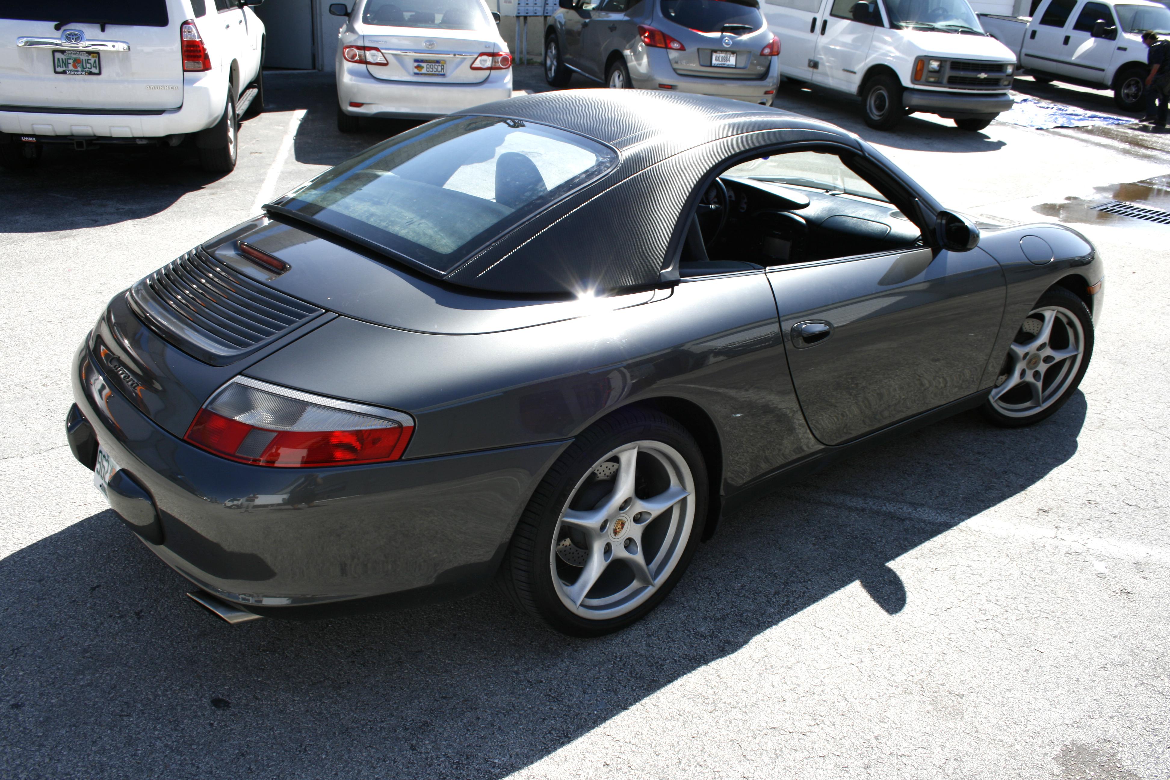 Porsche 911 Carbon Fiber Roof Hardtop Vinyl Wrap Miami Florida
