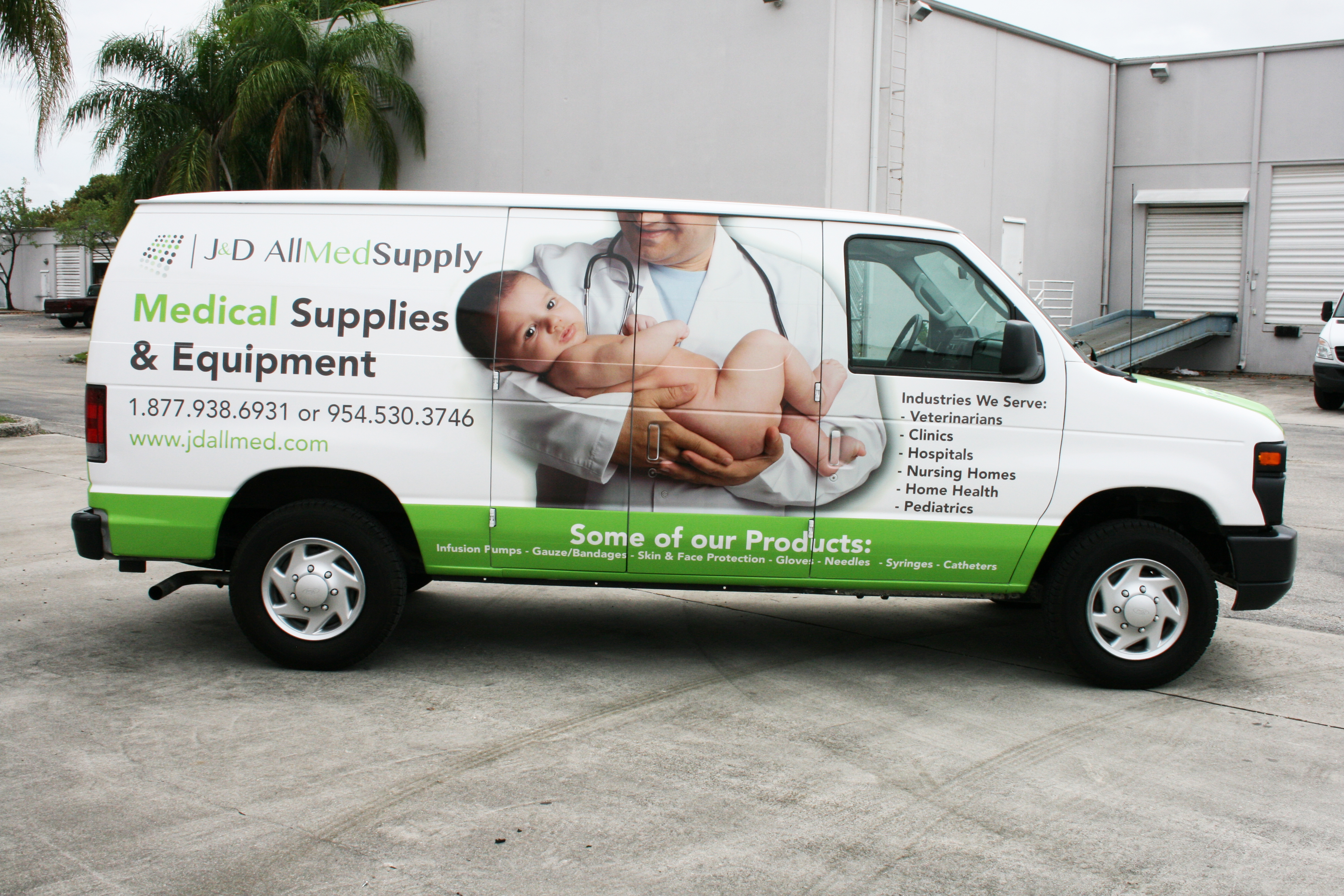 Medical Supply Delivery Van Wrap Graphics Fort Lauderdale Florida