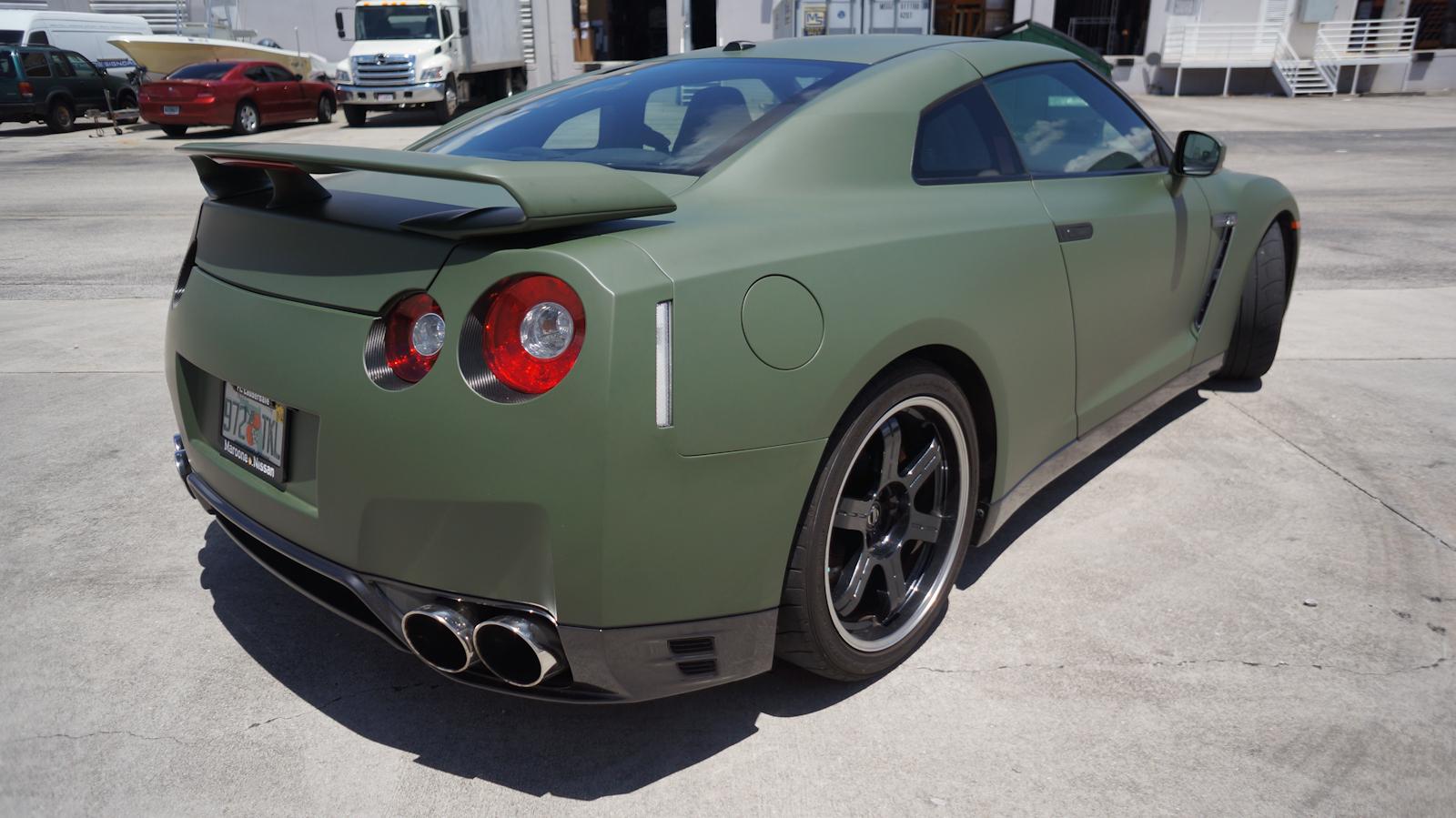 Custom nissan gtr matte car wrap miami florida for Matte paint car