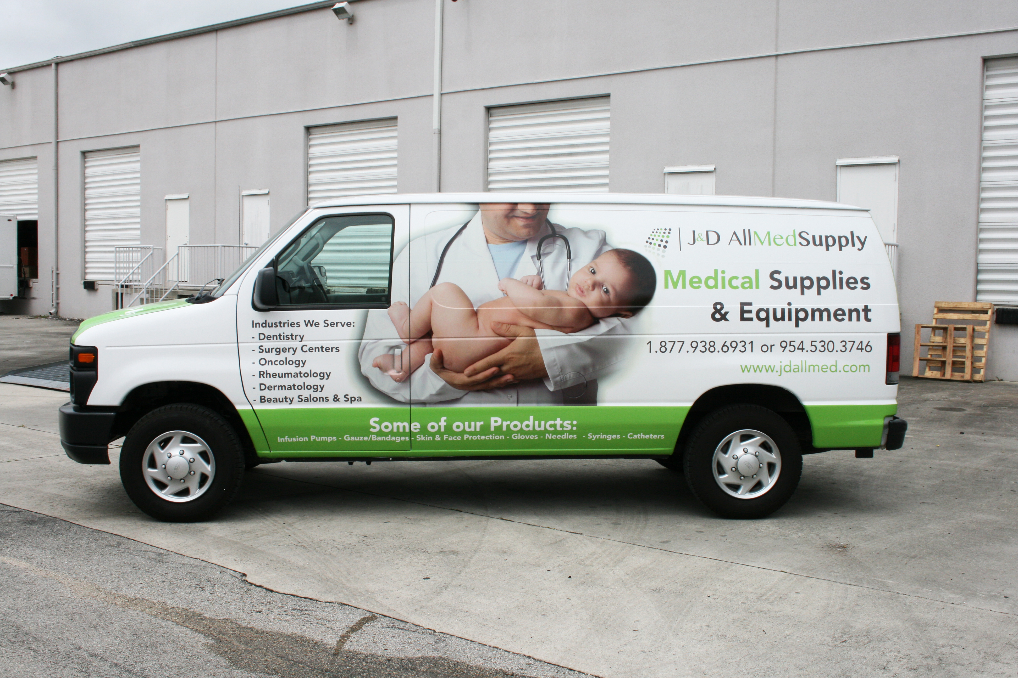 Medical Supply Delivery Van Wrap Graphics Fort Lauderdale