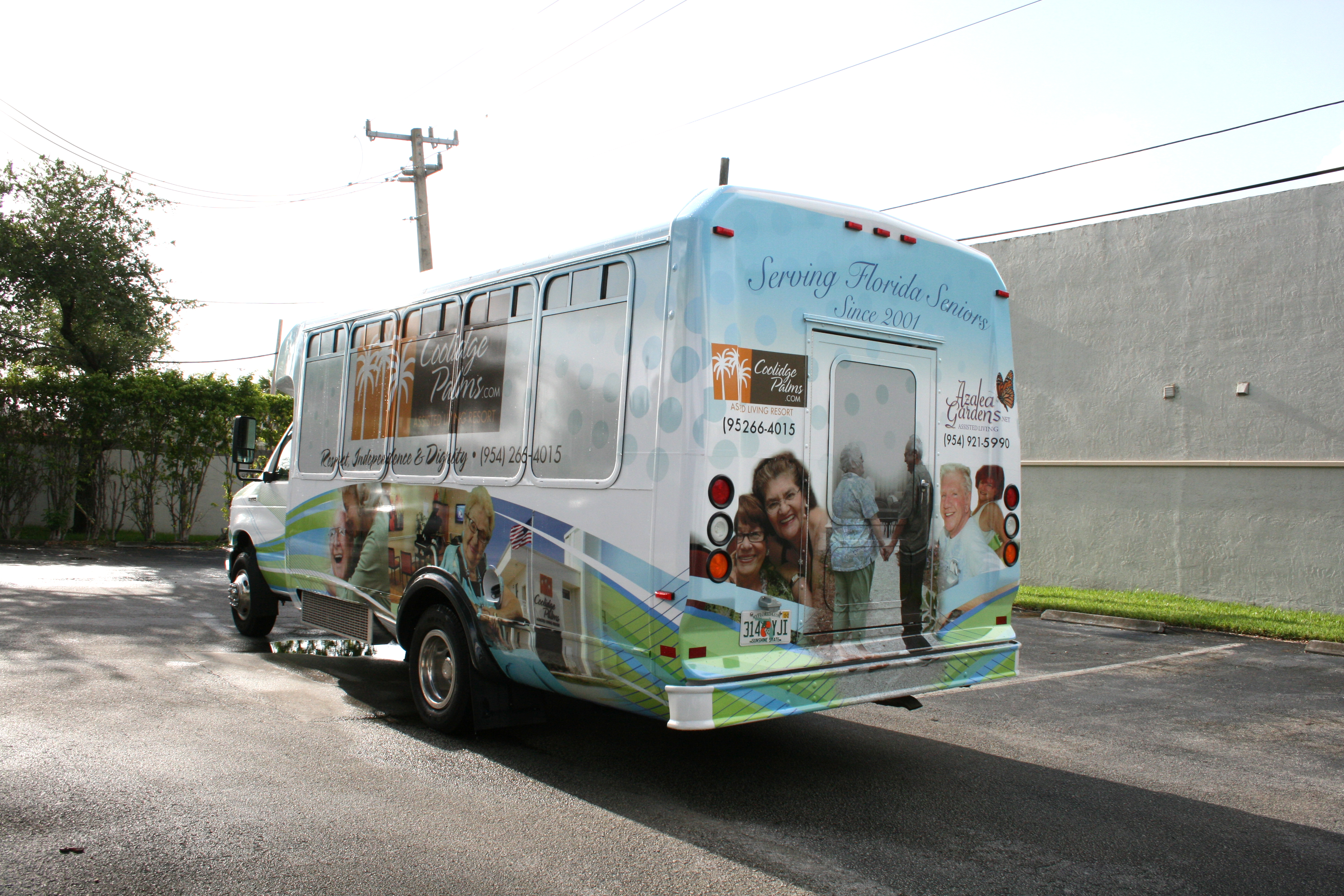 Assisted Living Shuttle Bus Vinyl Vehicle Wrap Fort