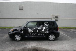 Lockbot Locksmith car graphics Fort Lauderdale