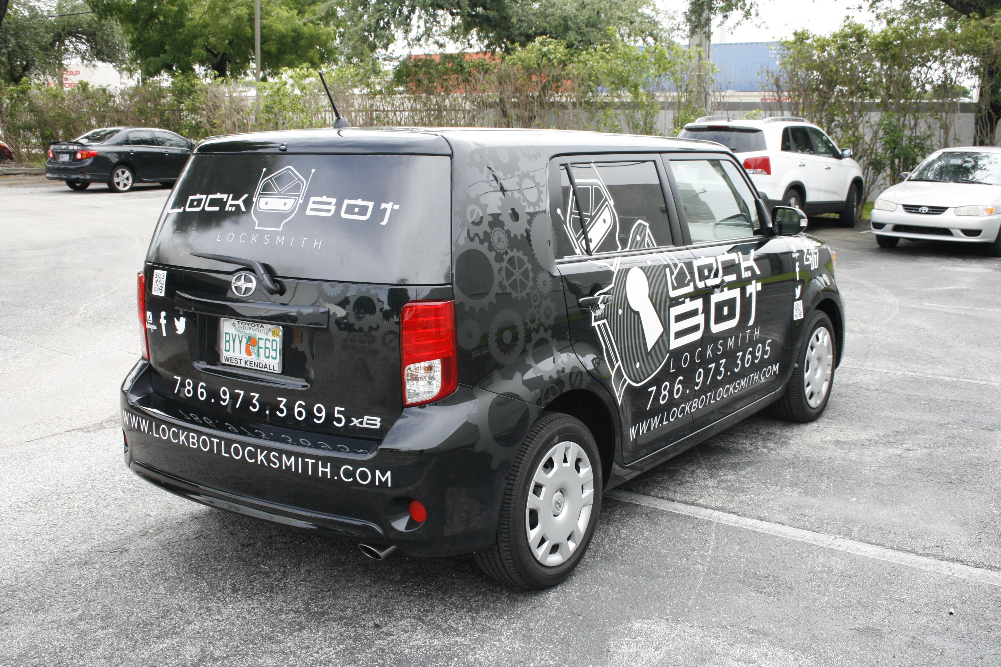 Locksmith Car Wrap Graphics Miami Florida Lockbot Locksmith