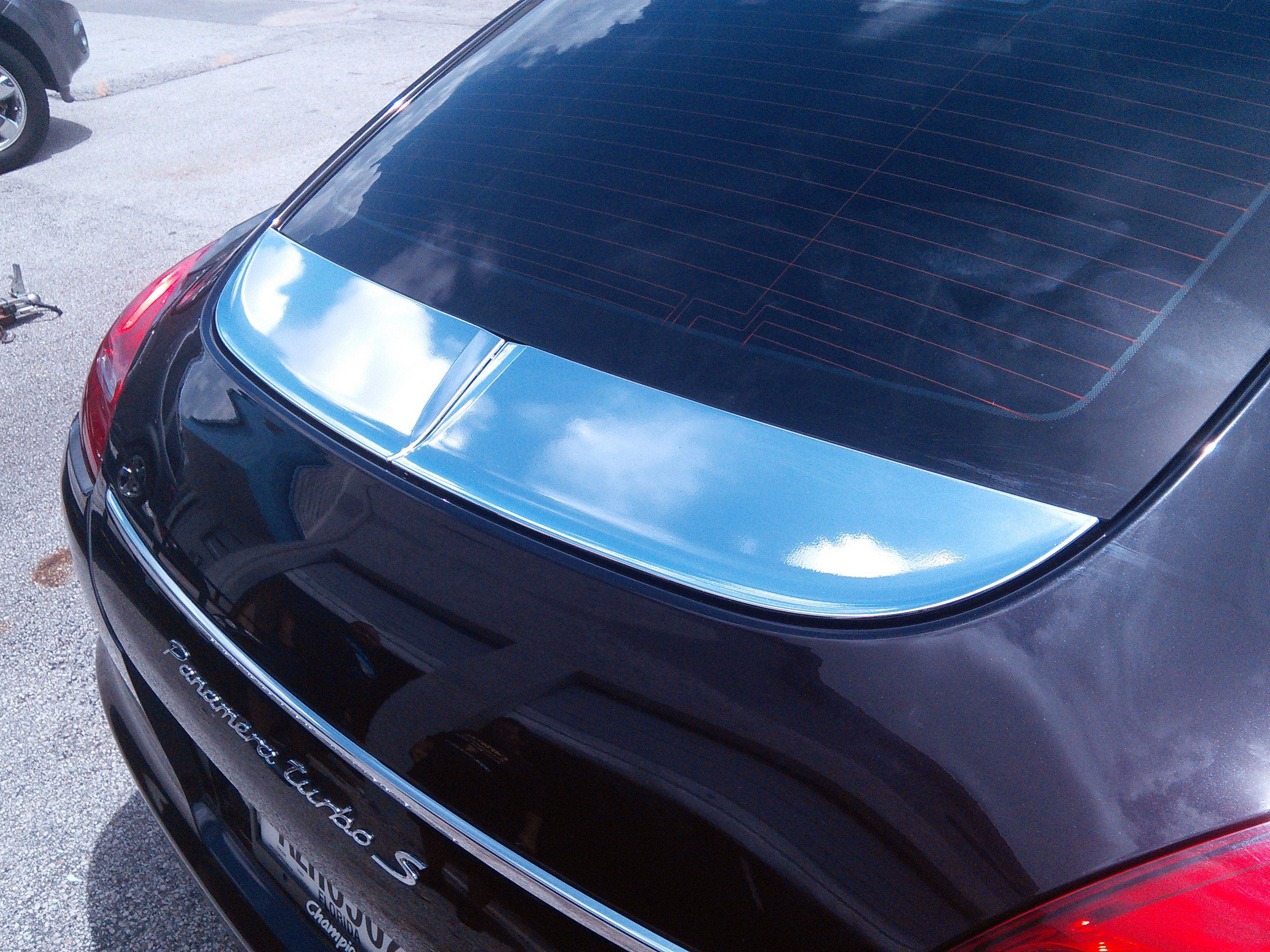 Porsche Panamera Miami Chrome Vinyl Wrapped Rear Spoiler