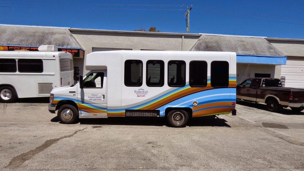 Miami Hotel To Airport Shuttle Bus Passenger Van Vinyl Wrap