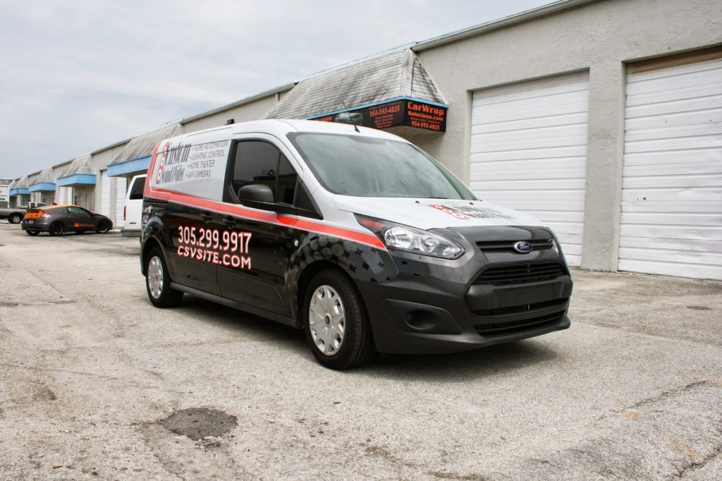 Miami Florida New Ford Transit Connect Commercial Vehicle Van Wrap Graphic Design Printing 3M Certified Installation