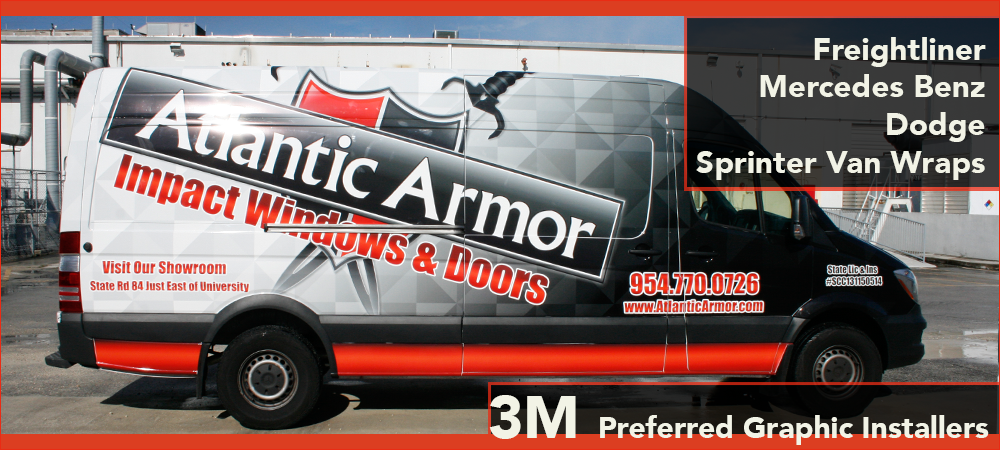 Mercedes Benz Freightliner Dodge Sprinter van vehicle wrap Fort Lauderdale, Davie, Miami, Boca Raton, West Palm Beach, Florida