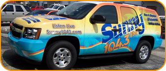West Palm Beach Florida car wrap for Sunny 104.3 CBS Radio