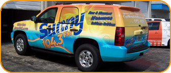 tv station vehicle wrap, tv station vehicle wrapping, for Sunny 104.3 CBS Radio in West Palm Beach, Florida
