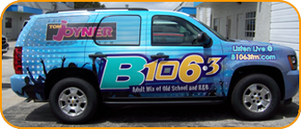 The Buzz, B106.3 CBS Radio car wrap in West Palm Beach,